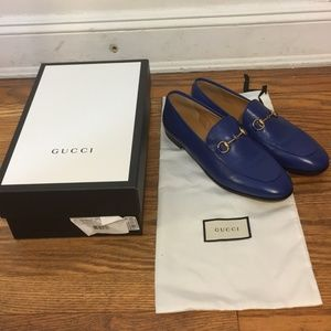 Gucci Women's Blue Jordaan Leather Loafers